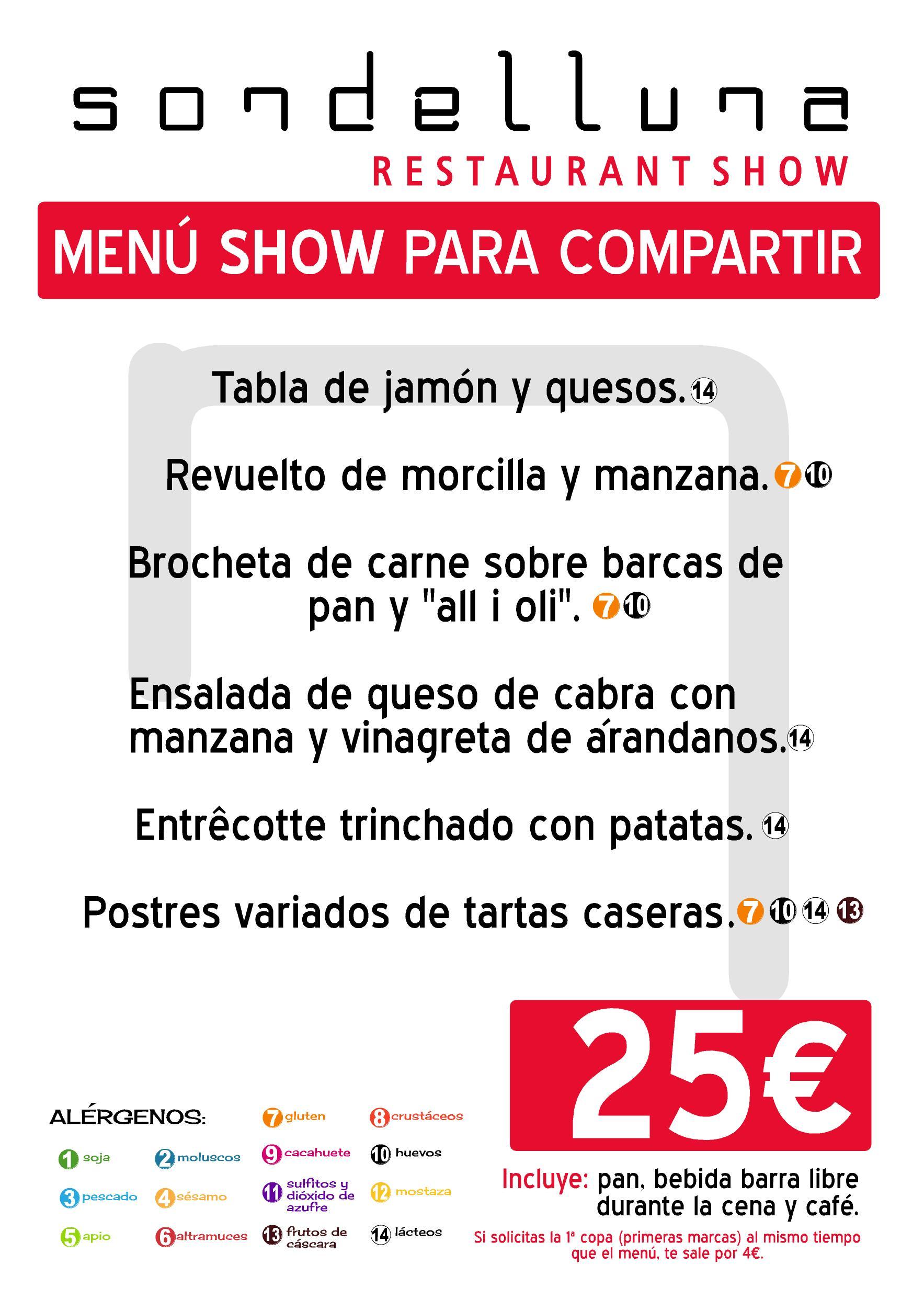 Carta menú Sondelluna Show